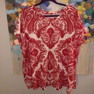 Lucky Brand Red & White Paisley Tee